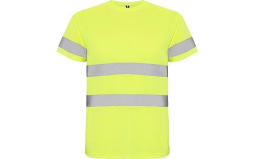 Tricou simplu reflectorizant galben fluorescent Roly Delta S